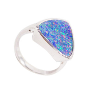 ELECTRIC LEAH STERLING SILVER AUSTRALIAN BLACK OPAL RING