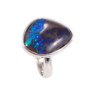 OCEAN MOUNTAIN LIGHTNING BOLT NATURAL SOLID AUSTRALIAN BOULDER OPAL RING
