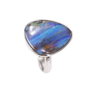 MOUNTAIN MAJESTY NATURAL SOLID AUSTRALIAN BOULDER OPAL RING