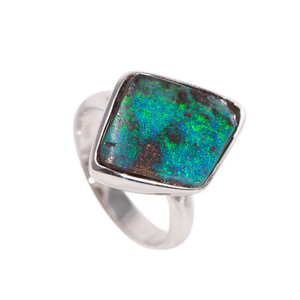 NATURAL ELECTRIC DIAMOND NATURAL SOLID AUSTRALIAN BOULDER OPAL RING
