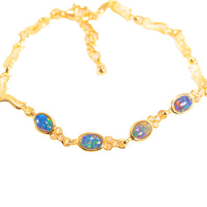 RADIANT SUNSET 4 TIER 18kt GOLD PLATED BLACK OPAL BRACELET