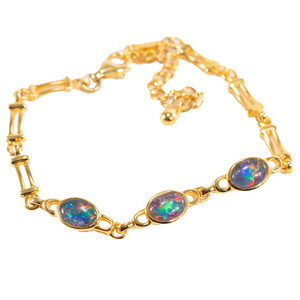 SHINE BRIGHT 4 TIER 18kt GOLD PLATED BLACK OPAL BRACELET