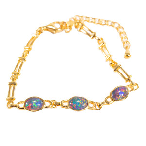 RAINBOW SPLASH SURPRISE 3 TIER 18kt GOLD PLATED AUSTRALIAN BLACK OPAL BRACELET