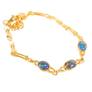 ETERNAL BLISS 18kt GOLD PLATED GENUINE AUSTRALIAN BLACK OPAL BRACELET