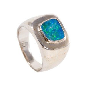 ELECTRIC FOREST STERLING SILVER  AUSTRALIAN BLACK OPAL RING
