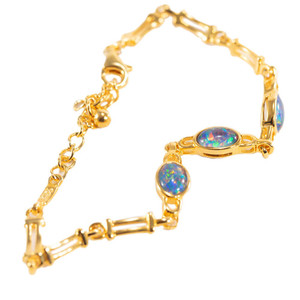 ENCHANTED CASTLE 18kt GOLD PLATED AUSTRALIAN BLACK OPAL BRACELET