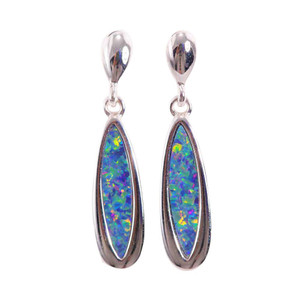 ELECTRIC FANTASY DROP STERLING SILVER AUSTRALIAN OPAL EARRINGS