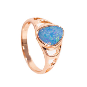 DELICATE RAINBOW FLASH 18kt ROSE GOLD PLATED AUSTRALIAN BLACK OPAL RING