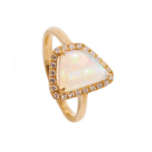 ROYAL WONDERLAND LIMITED EDITION GOLD & DIAMOND NATURAL AUSTRALIAN OPAL RING