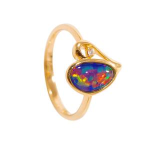 1 RED STAR DUST FANTASY 14KT GOLD & DIAMOND AUSTRALIAN OPAL RING