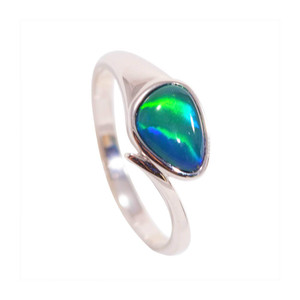 TIGER EYE OCEAN 14KT WHITE GOLD AUSTRALIAN OPAL RING