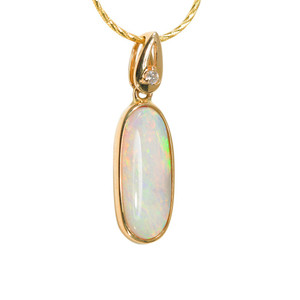 DEEP LOVE 14KT GOLD & DIAMOND NATURAL AUSTRALIAN WHITE OPAL NECKLACE