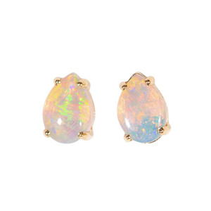 ELECTRIC FANTASY LAND 14KT GOLD NATURAL AUSTRALIAN WHITE OPAL STUD EARRINGS