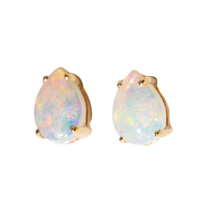 RED POWDER CANDY 14KT GOLD NATURAL AUSTRALIAN WHITE OPAL STUD EARRINGS
