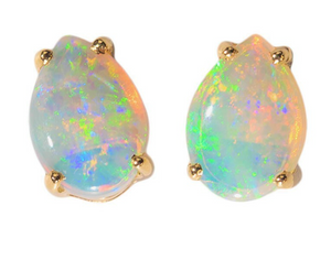 CANDY CRUSH 14KT GOLD SOLID WHITE AUSTRALIAN OPAL STUD EARRINGS