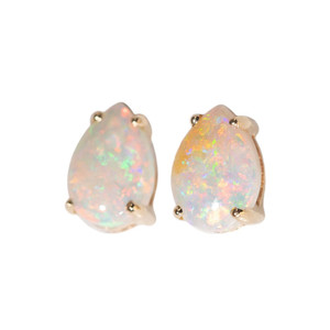 RAINBOW CASTLE 14KT GOLD NATURAL AUSTRALIAN WHITE OPAL STUD EARRINGS