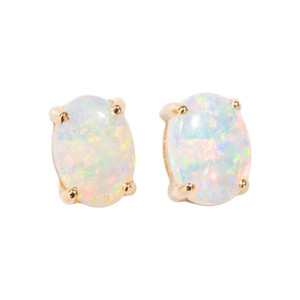 ELECTRIC PASSION 14KT GOLD NATURAL AUSTRALIAN WHITE OPAL STUD EARRINGS