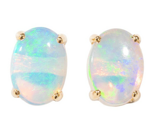 1 DEEP LOVE 14KT GOLD SOLID WHITE AUSTRALIAN OPAL STUD EARRINGS
