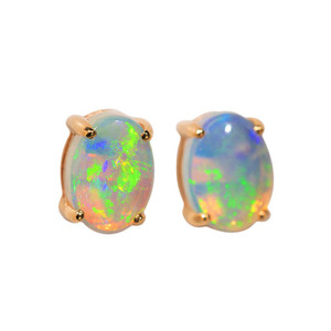 ANGELS MAGESTY 14KT GOLD AUSTRALIAN WHITE OPAL STUD EARRINGS