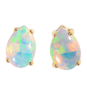 DESTINY REVEALED 14KT GOLD NATURAL AUSTRALIAN WHITE OPAL STUD EARRINGS