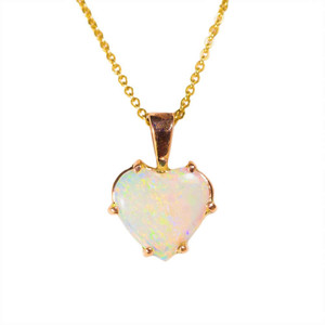 CAPTIVATING LOVE 14KT GOLD AUSTRALIAN HEART SHAPED OPAL NECKLACE