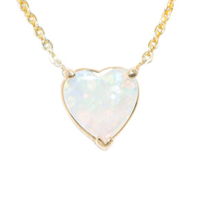 DEEP LOVE 14KT GOLD AUSTRALIAN HEART SHAPED OPAL NECKLACE