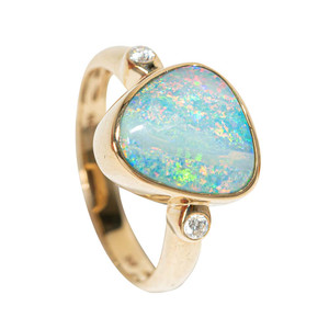 1 ELECTRIC RAINBOW 14KT GOLD AND DIAMOND NATURAL AUSTRALIAN OPAL RING