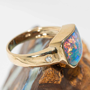 GOLD FIRE SUNRISE 14KT GOLD AND DIAMOND NATURAL AUSTRALIAN OPAL RING