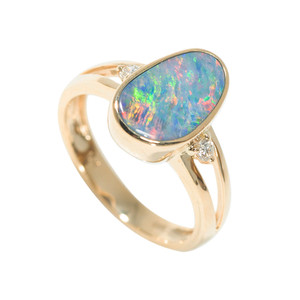 1 CANDY LAND MAJESTY 14KT GOLD & DIAMOND NATURAL AUSTRALIAN OPAL RING