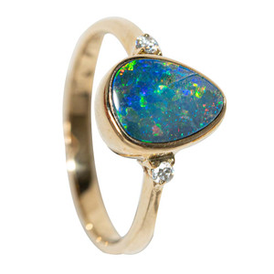 ENCHANTED GARDEN 14KT GOLD AND DIAMOND AUSTRALIAN OPAL RING