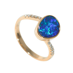 ABUNDANT EARTH OCEAN 14KT GOLD & DIAMOND AUSTRALIAN OPAL RING