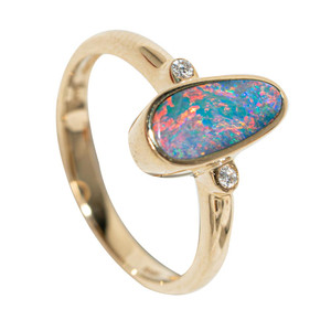 SHERBERT SUNRISE 14KT GOLD & DIAMOND NATURAL AUSTRALIAN OPAL RING