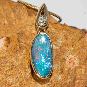 INSPIRED PASSION 14KT GOLD & DIAMOND AUSTRALIAN BLACK OPAL NECKLACE