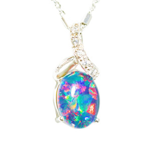 1 BRIGHT STAR DUST STERLING SILVER AUSTRALIAN BLACK OPAL NECKLACE