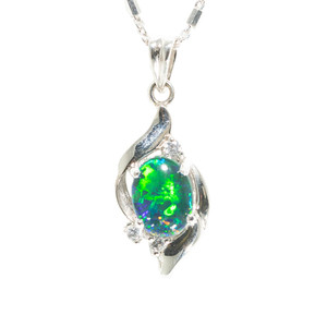 1 EARTH'S PERFECTION STERLING SILVER AUSTRALIAN BLACK OPAL NECKLACE
