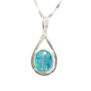 1 GALAXY ADVENTURE STERLING SILVER AUSTRALIAN BLACK OPAL NECKLACE