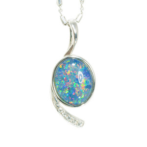 ELECTRIC SUMMERS STERLING SILVER AUSTRALIAN BLACK OPAL NECKLACE