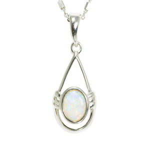 DEEP LOVE STERLING SILVER AUSTRALIAN WHITE OPAL NECKLACE