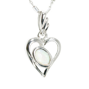 1 DEEPEST LOVE STERLING SILVER AUSTRALIAN WHITE OPAL NECKLACE