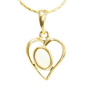 HEART ANGEL 18kt GOLD PLATED AUSTRALIAN WHITE OPAL NECKLACE