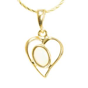 HEART ANGEL 18kt GOLD PLATED AUSTRALIAN WHITE OPAL NECKLACE