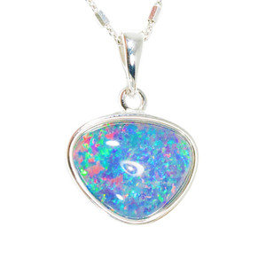 ELECTRIC FANTASY SILVER AUSTRALIAN BLACK OPAL NECKLACE