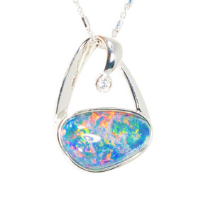 1 BRIGHT SHINE STERLING SILVER AUSTRALIAN BLACK OPAL NECKLACE