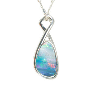 1 RAINBOW RIVER ROAD STERLING SILVER AUSTRALIAN BLACK OPAL NECKLACE