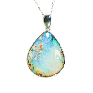 AQUA TROPICAL OCEAN NATURAL AUSTRALIAN SOLID BOULDER OPAL NECKLACE