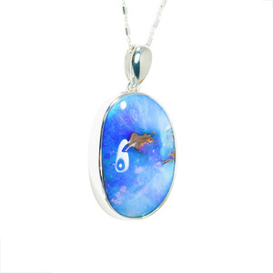 DREAM ALLIE BLUE & PURPLE NATURAL AUSTRALIAN SOLID BOULDER OPAL NECKLACE