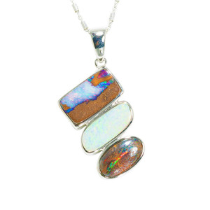 MULTI COLORED DREAM NATURAL AUSTRALIAN SOLID BOULDER OPAL NECKLACE
