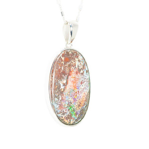 MAGIC FOREST RAINBOW NATURAL AUSTRALIAN SOLID BOULDER OPAL NECKLACE