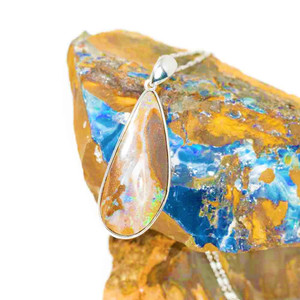 ENCHANTED FOREST NATURAL AUSTRALIAN SOLID BOULDER OPAL NECKLACE