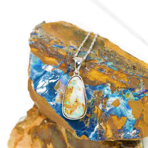 ELECTRIC CRYSTAL DESERT NATURAL AUSTRALIAN SOLID BOULDER OPAL NECKLACE
